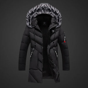 Winter Parka Men's Solid Jacket Thick Warm Coat Long Hooded Jacket Fur Collar Windproof Padded Coat Fashion Men