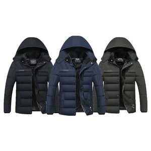 Men's Parkas Winter Windproof Thick Jacket Men Casual Waterproof Hat Detachable Hooded Coat Warm Fleece Overcoat