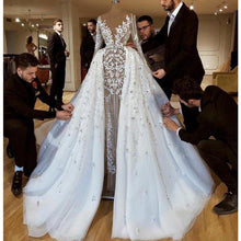 Load image into Gallery viewer, Luxury Bridal Wedding Dress with Detachable Skirt Sexy Illusion Sleeves Flowers Appliques Wedding Gowns Vestido De Noiva