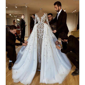 Luxury Bridal Wedding Dress with Detachable Skirt Sexy Illusion Sleeves Flowers Appliques Wedding Gowns Vestido De Noiva