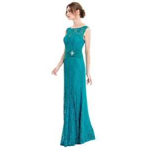 Women's V Neck Lace Evening Dress Pleated Ribbon Mermaid Party Gown Apricot