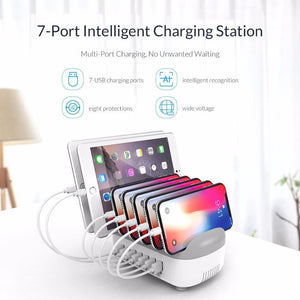 USB Charger Station Dock with Holder USB Charger 70W 5V2.4A*7 USB Charging for iphone pad Kindle