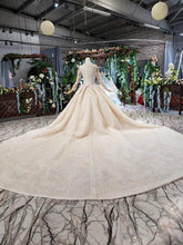 Load image into Gallery viewer, luxury wedding dresses with royal train o-neck long sleeves heavy handmade bridal gowns high-end vestido de casamento