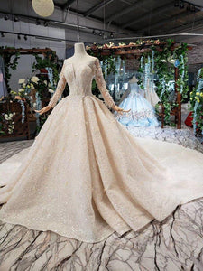 luxury wedding dresses with royal train o-neck long sleeves heavy handmade bridal gowns high-end vestido de casamento