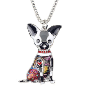Maxi Statement Metal Alloy Chihuahuas Dog Choker Necklace Chain Collar Pendant Fashion New Enamel Jewelry