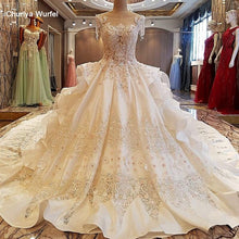 Load image into Gallery viewer, Gorgeous ivory bridal gown 3D flowers beading sleeves ball gown lace wedding dress vestidos de noivas real photos
