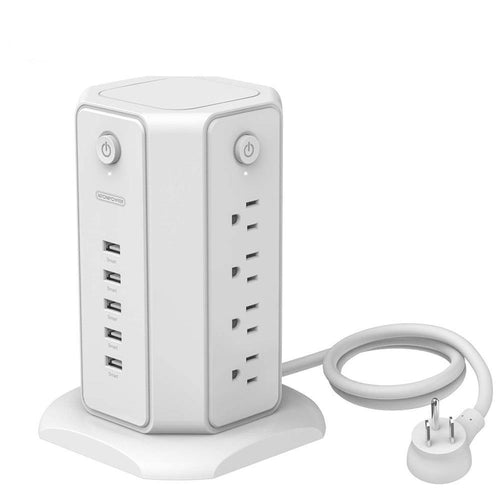 Surge Protector Flat US Plug Power Strip Tower 8 AC 5 USB Desktop Charging Station 1.8m Extension Cord for Home Office