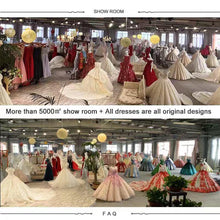 Load image into Gallery viewer, elegant bridal gowns cape sleeves ball gown flower wedding gowns with long tail robe de mariage real photos
