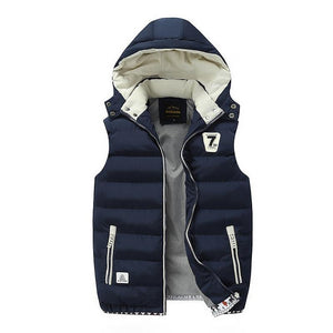 Men's Vest Winter Down Vest Casual Waistcoat Men's Sleeveless Jacket Warm Men's Vest Overcoats Hat Detachable