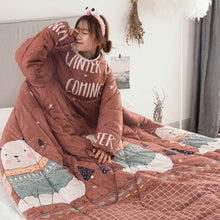 Load image into Gallery viewer, Lazy Quilt With Sleeves Warm Thicken Blanket Multifunction For Home Winter Nap