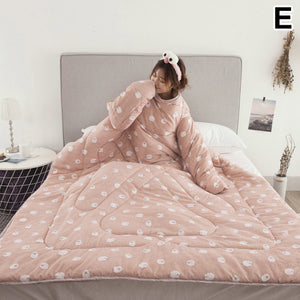 Lazy Quilt With Sleeves Warm Thicken Blanket Multifunction For Home Winter Nap