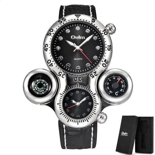 Octopus Design Sport Watches Men Unique Design Two Time Zone Wristwatch Decorative Compass Casual Male Quartz Watch