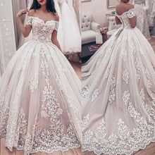Load image into Gallery viewer, Luxury Lace Ball Gown Wedding Dress Sweetheart Off The Shoulder Wedding Gown Appliques Lace up Back Muslim Bride Dresses
