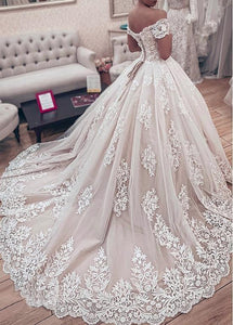 Luxury Lace Ball Gown Wedding Dress Sweetheart Off The Shoulder Wedding Gown Appliques Lace up Back Muslim Bride Dresses