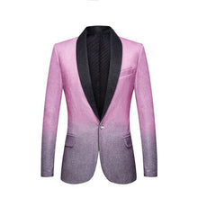 Load image into Gallery viewer, Men's Stylish Shawl Lapel Gradient Color Shiny Pink Gray Slim Fit Blazer Stage Singer Prom Dress Suit Jacket