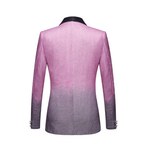 Men's Stylish Shawl Lapel Gradient Color Shiny Pink Gray Slim Fit Blazer Stage Singer Prom Dress Suit Jacket