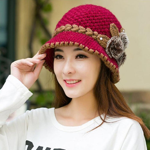 Warm Hat Winter Women Earmuffs Wool Cap Pretty Knitted Hats Female Autumn Winter Fashion Beanies Hat