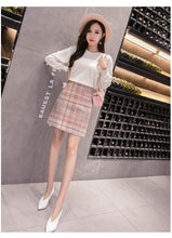 Load image into Gallery viewer, Wool Mini Skirt Women Fashion Gray Pink And Black High Waist Woolen Skirts For Women