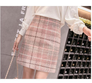 Wool Mini Skirt Women Fashion Gray Pink And Black High Waist Woolen Skirts For Women