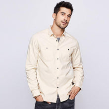 Load image into Gallery viewer, Autumn 100% Cotton Embroidery Shirt Men Dress Button Casual Slim Fit Long Sleeve For Male Fashion Brand Blouse