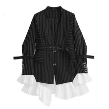 Load image into Gallery viewer, Women Patchwork Pleated Blazer Coat Notched Collar Detachable Flare Sleeve With Sashes Striped