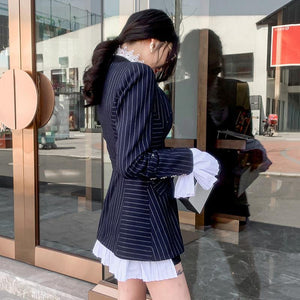 Women Patchwork Pleated Blazer Coat Notched Collar Detachable Flare Sleeve With Sashes Striped