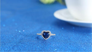 New Fashion Jewelry Zircon Stainless Steel Heart Of The Sea Wedding Bride Party Rings For Women