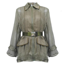 Load image into Gallery viewer, Women Streetwear Long Sleeve Belt Waisted Army Green Large Pocket Coats And Jackets Women Blazer