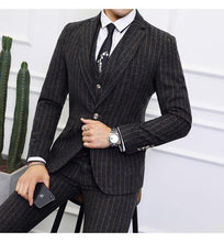 Load image into Gallery viewer, 3 Pieces Men Striped Suits Slim Fit Groom Wedding Suit Man High Quality Men's Dress Suits Business Formal Wear