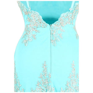 Spaghetti Strap Embroidery Floral Evening Dress long Mermaid Wedding Party Gown Sky Blue