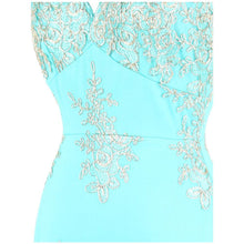 Load image into Gallery viewer, Spaghetti Strap Embroidery Floral Evening Dress long Mermaid Wedding Party Gown Sky Blue