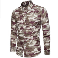 Load image into Gallery viewer, long sleeve shirt men shirt Mens Fashion Camouflage Printed Blouse Casual Long Sleeve Slim Tops Large size loose men top
