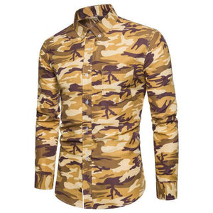 long sleeve shirt men shirt Mens Fashion Camouflage Printed Blouse Casual Long Sleeve Slim Tops Large size loose men top