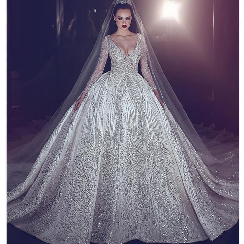 Vintage Luxury Beading Wedding Dress Princess Illusion Long Sleeve Wedding Gown Sexy Deep V-Neck Ball Gown Bridal Dresses