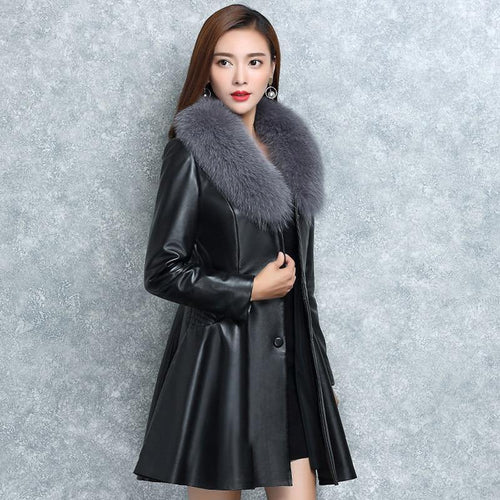 Women Leather Fur Jackets Women's Cotton Padded Overcoat Imitate Fox Wool Outerwear