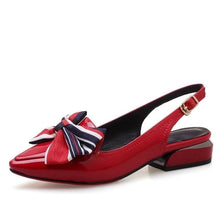 Load image into Gallery viewer, women shoes newest pointed toe patent leather bowties buckle strap low square heel outside black and red ladies pumps