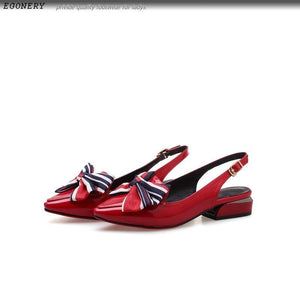 women shoes newest pointed toe patent leather bowties buckle strap low square heel outside black and red ladies pumps
