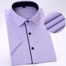 Load image into Gallery viewer, Men's Short Sleeve Solid Basic Dress Shirts Regular-fit Round Hem Work Office Easy Care Less Wrinkles Summer Casual Shirt