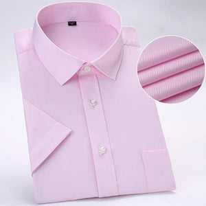 Men's Short Sleeve Solid Basic Dress Shirts Regular-fit Round Hem Work Office Easy Care Less Wrinkles Summer Casual Shirt