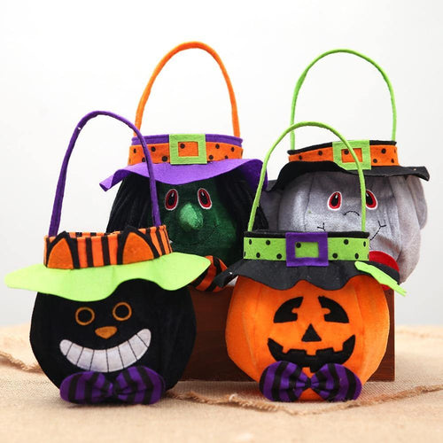 Creative Halloween Bags Pumpkin Ghost Black Cat Round Bags Halloween Gift Bag Children Candy Bag Halloween Party Decor
