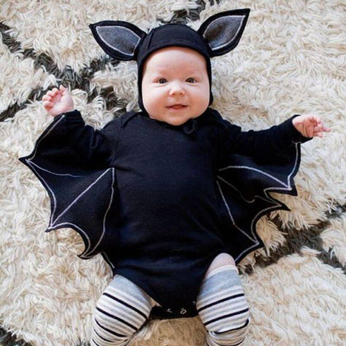 Halloween Bat Sleeve Baby Bat Set Cosplay Costume 2019 New Fashion Toddler Newborn Boys Girls Romper Hat Outfits Set Novelty