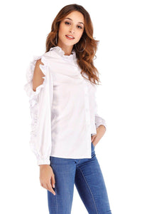 White Blouse Shirt Women Solid Stand Collar Off-shoulder Ruffles Long Sleeve Tops blusas feminina