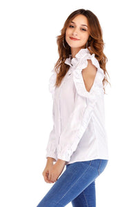 White Blouse Shirt Women Solid Stand Collar Off-shoulder Ruffles Long Sleeve Tops blusas feminina - moonaro