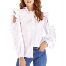 Load image into Gallery viewer, White Blouse Shirt Women Solid Stand Collar Off-shoulder Ruffles Long Sleeve Tops blusas feminina