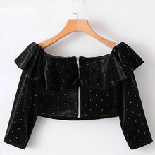 Load image into Gallery viewer, Velvet Crop Top Women's Off Shoulder Tops and Blouses Polka Dot Long Sleeve Blouse