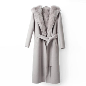Natural Real Fox Fur Coat Hood Winter Jacket Women Wool Coat Long Outerwear Belt Parka Streetwear Casual Detachable