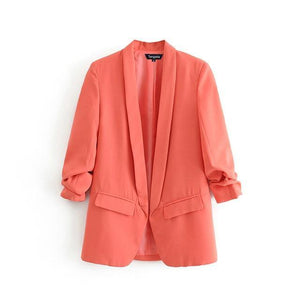 women solid blazer pockets pleated three quarter sleeve outerwear ladies work wear casual blazer coat