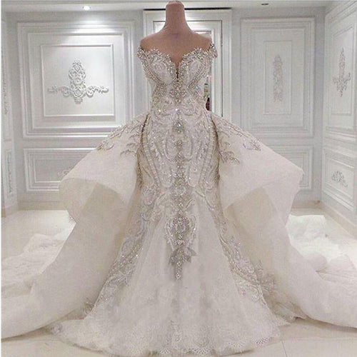 Luxury Beaded Mermaid Wedding Dress With Detachable Overskirt Sparkly Crystals Diamonds Bridal Gowns