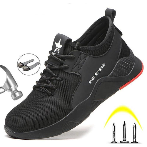 Safety Shoes Boots For Men Steel Toe Cap Anti-smashing Work Shoes Safety Work Breathable Sneakers