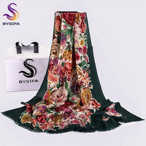 100% Wool Women Green Scarves Shawls New Chinese Peony Long Pashmina Scarves Spring Autumn Female Brand Neck Scarf Hijab